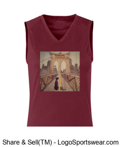 B-Core Ladies Sleeveless Tee with Brooklyn Bridge Art by Cheri Howes Design Zoom